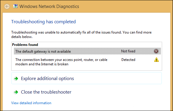 The default gateway is not available error message on Windows 10