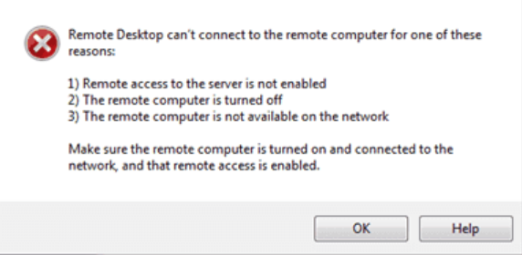 Remote desktop can't connect to the remote computer error message on Windows