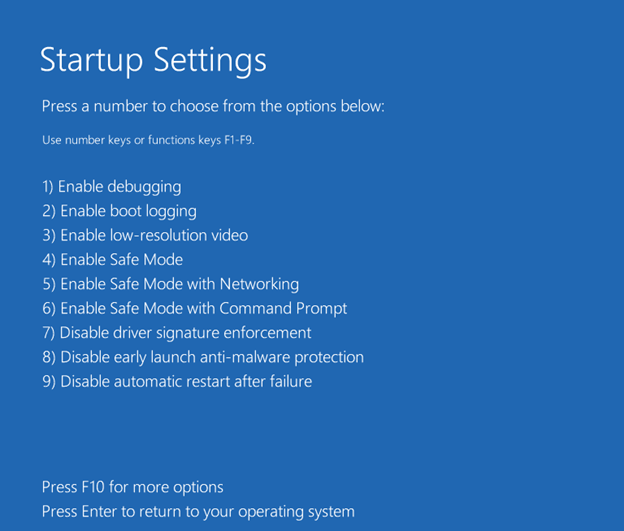 Windows 10 Safe Mode settings