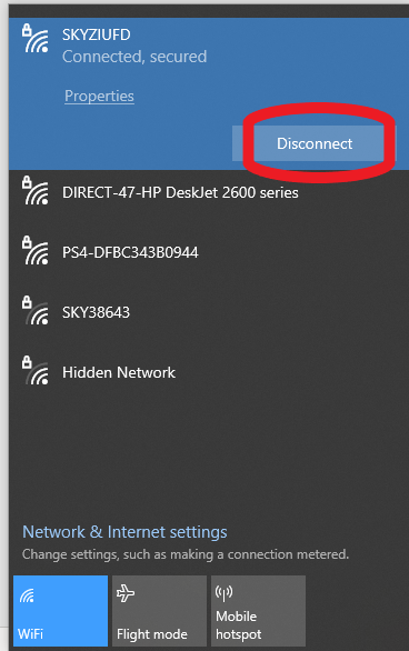disconnect from wifi