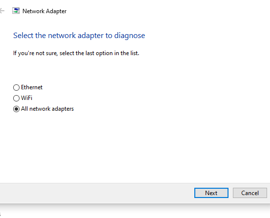 Network adapter troubleshooting options