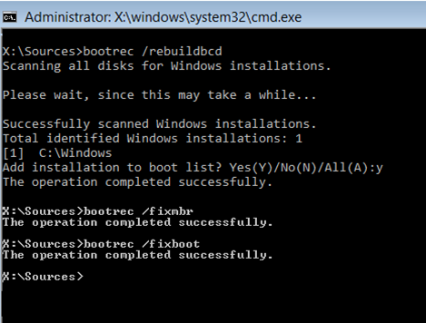 Rebuild boot configuration data from command prompt