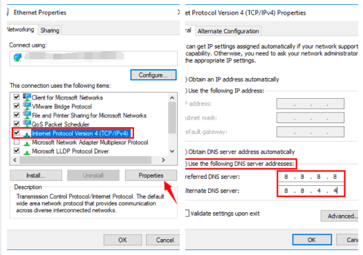 how to change IPv4 DNS