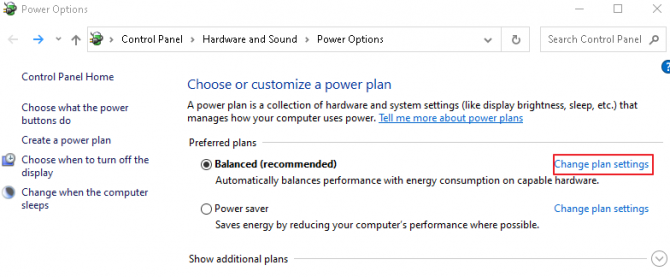Change Plan Settings for Power Options