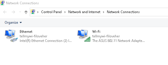 Right-click Wi-Fi like in previous step to enable features listed.