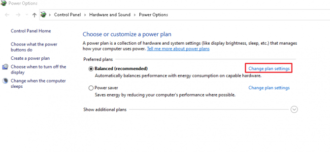 Where to change your power plan settings.