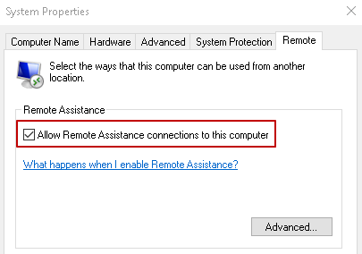 Under Remote Tab, Allow Remote Assistance.