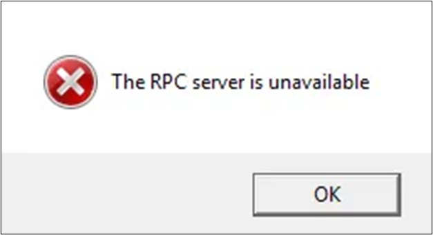 The RPC server is unavailable error message on Windows