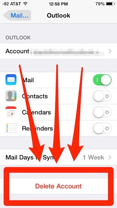 How to delete an email account on an iPhone