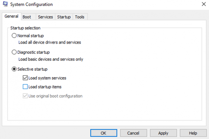 System configuration settings