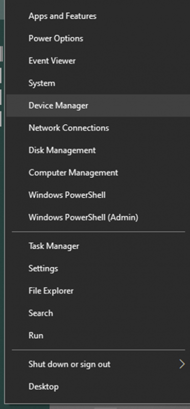 Device Manager in Start Menu