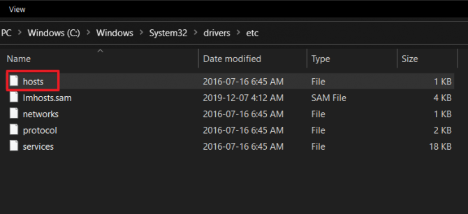 How to access HOSTS file on a Windows Machine.