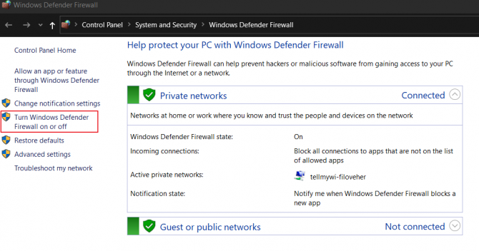 How to Turn Off Windows Defender Firewall