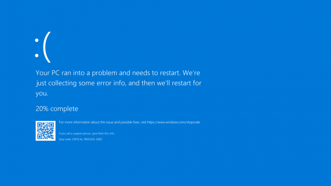 BSoD Error Message and Percentage of Mini-Dump. QR code for more information.