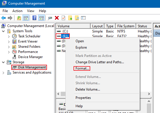 How to Format From Computer Management