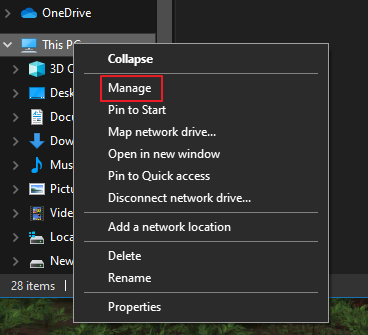 How to Find the Manage Option