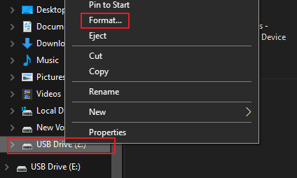 How to Access the Format Option for a USB Stick