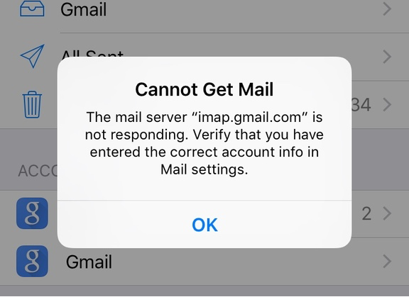 Cannot Get Mail: IMAP is not responding error on iPhone