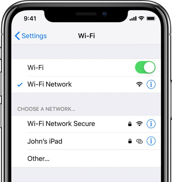 WiFi connection on iPhone