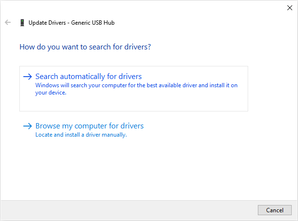 Search automatically for Generic USB Hub drivers