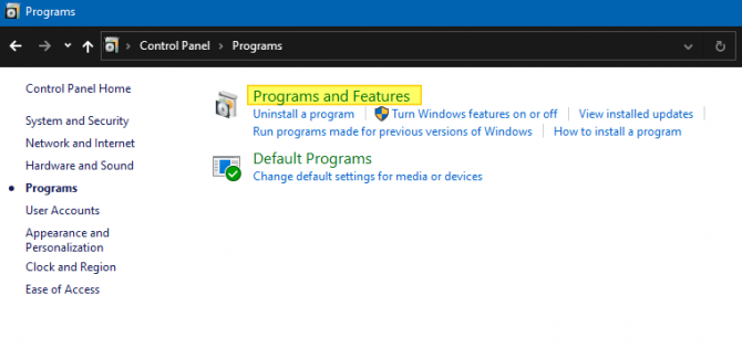 Windows Programs and Features
