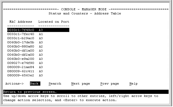 Table of MAC addresses and corresponding physical ports.