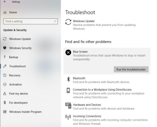 Windows Blue Screen troubleshooter for Bad Pool Caller error
