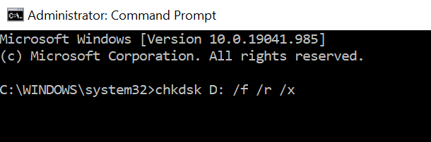 chkdsk /f /r /x command to repair bad sectors on a storage device before formatting