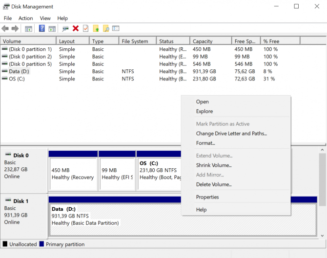 Format a storage drive from Disk Management