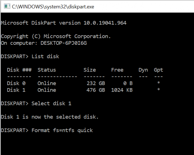 Formatting a drive using the diskpart command line tool