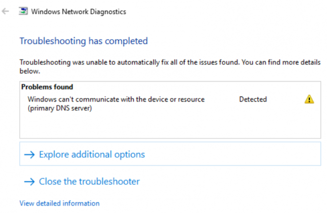 Windows can't communicate with the device or resource (primary DNS server) error message on Windows