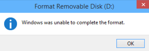 Windows was unable to complete the format error message