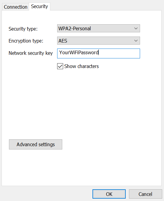 WiFi password visible under Network security key