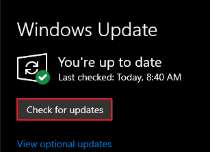 Use the Check for Updates to see if Windows 10 has an update.