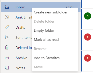Creating a new folder in Outlook