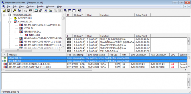 Dependency Walker and Missing DLL Files