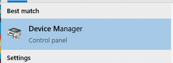What Device Manager looks like in the best results of a Windows 10 computer menu search.