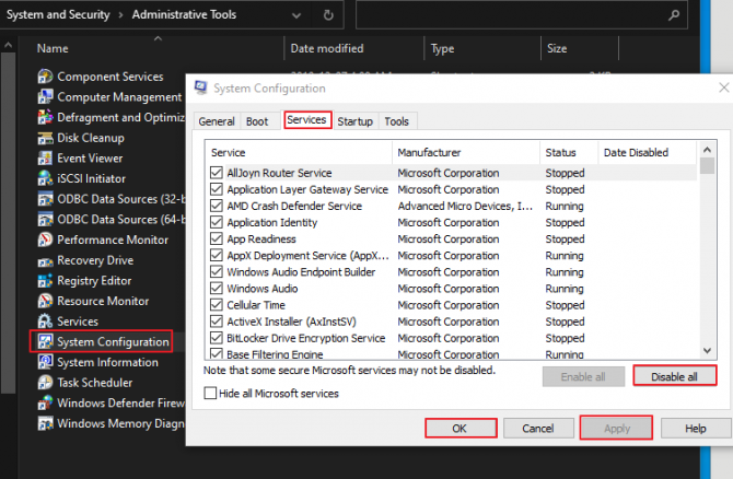 Disable all services on startup