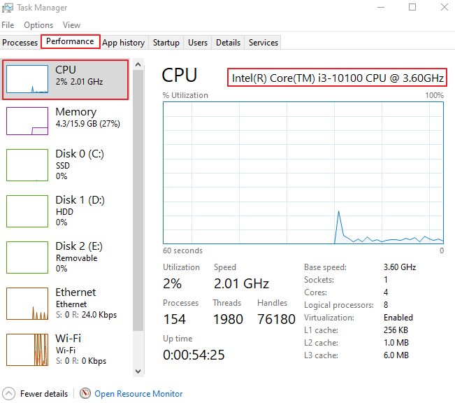 Click on CPU in Task Manager to view your CPU.