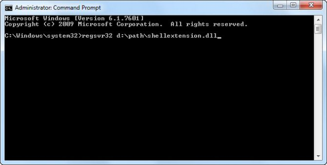 Example usage of regsvr32 command.
