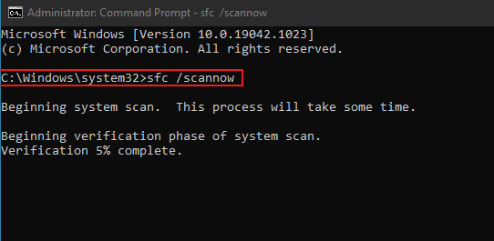 SFC Scan Now Command Line Prompt.