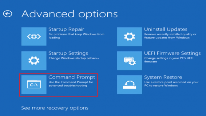 Open Command Prompt from WinRE Advanced options