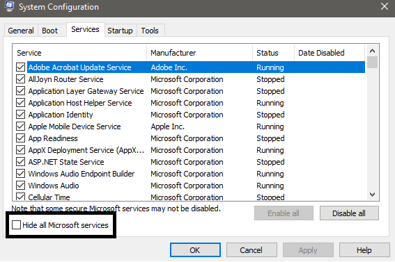 System Configuration Services Tab / Hide all Microsoft services