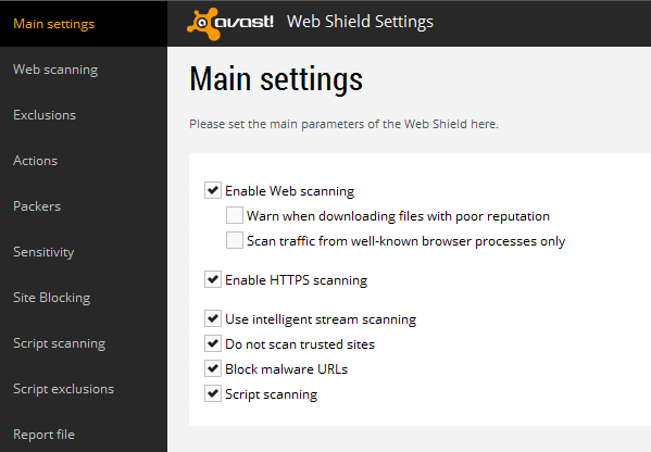 Avast Main settings with HTTPS scanning turned on