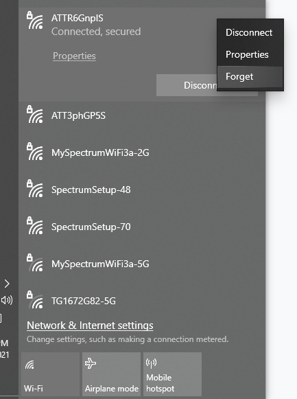Forget Network Connection