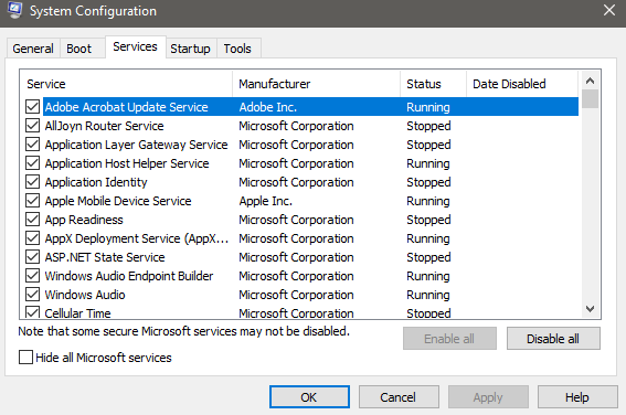 System Configuration Services Tab