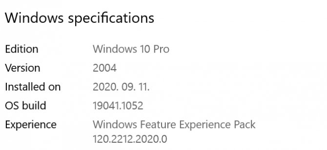 Windows specifications including edition, OS build and more