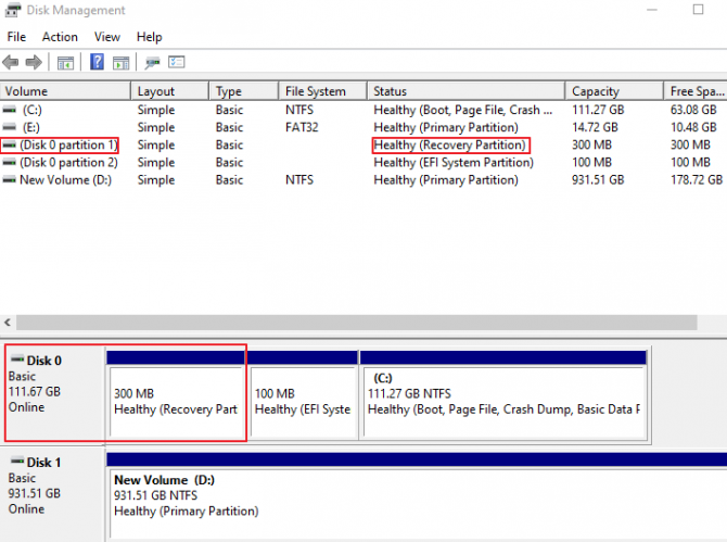 Disk Management Window for Finding Recovery Partition Disk Number