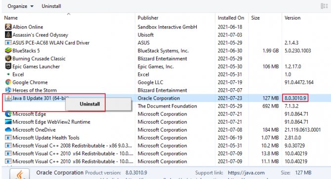 Image of how to uninstall Java and see the version number in the uninstall program function on Windows 10.