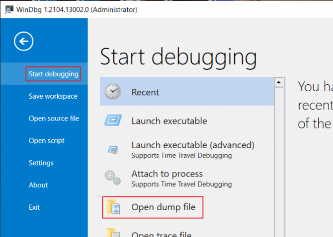 How to Open a Minidump File in WinDbg